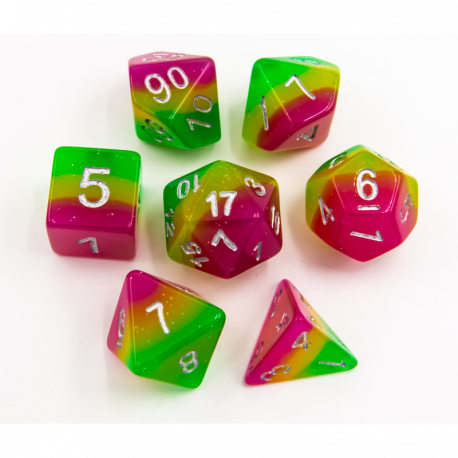 Candy Set of 7 Multi-layer Polyhedral Dice with Silver Numbers for D20 based RPG's