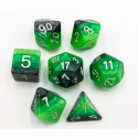 Green Set of 7 Multi-layer Polyhedral Dice with White Numbers for D20 based RPG's