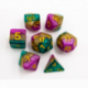 Green/Pink/Yellow Set of 7 Multi-layer Polyhedral Dice with Gold Numbers for D20 based RPG's