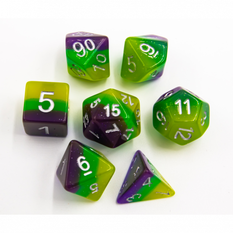 Green/Purple/Yellow Set of 7 Multi-layer Polyhedral Dice with Silver Numbers for D20 based RPG's