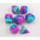 Light Blue/Blue/Purple Set of 7 Multi-layer Polyhedral Dice with Silver Numbers for D20 based RPG's