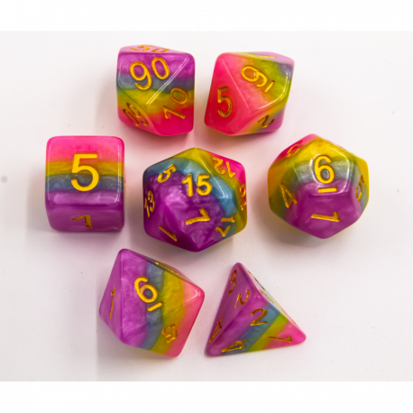 Pastel Set of 7 Multi-layer Polyhedral Dice with Gold Numbers for D20 based RPG's