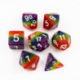 Rainbow Set of 7 Multi-layer Polyhedral Dice with White Numbers for D20 based RPG's