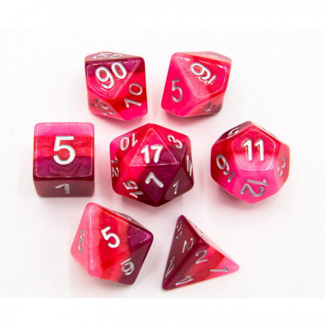 Red Set of 7 Multi-layer Polyhedral Dice with White Numbers for D20 based RPG's