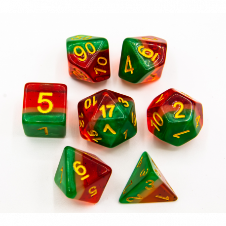 Watermelon Set of 7 Multi-layer Polyhedral Dice with Gold Numbers for D20 based RPG's