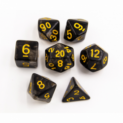 Black Set of 7 Nebula Polyhedral Dice with Gold Numbers for D20 based RPG's