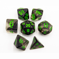 Black Set of 7 Nebula Polyhedral Dice with Green Numbers for D20 based RPG's