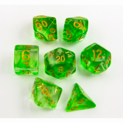 Green Set of 7 Nebula Polyhedral Dice with Gold Numbers for D20 based RPG's