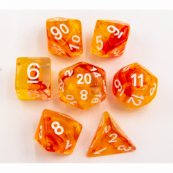 Orange Set of 7 Nebula Polyhedral Dice with Gold Numbers for D20 based RPG's