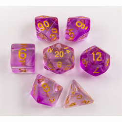 Purple Set of 7 Nebula Polyhedral Dice with Gold Numbers for D20 based RPG's