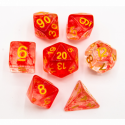 Red Set of 7 Nebula Polyhedral Dice with Gold Numbers for D20 based RPG's