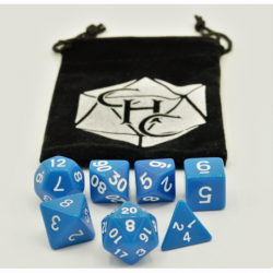 Blue Set of 7 Opaque Polyhedral Dice with White Numbers for D20 based RPG's