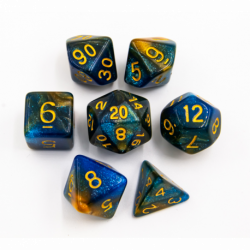 Blue/Orange Set of 7 Sparkly Fusion Polyhedral Dice with Gold Numbers for D20 based RPG's