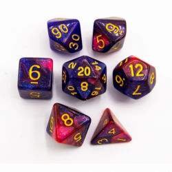 Blue/Red Set of 7 Sparkly Fusion Polyhedral Dice with Gold Numbers for D20 based RPG's