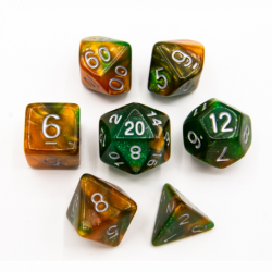 Green/Orange Set of 7 Sparkly Fusion Polyhedral Dice with White Numbers for D20 based RPG's
