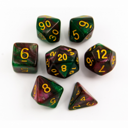 Green/Red Set of 7 Sparkly Fusion Polyhedral Dice with Gold Numbers for D20 based RPG's