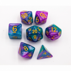 Purple/Teal Set of 7 Sparkly Fusion Polyhedral Dice with Gold Numbers for D20 based RPG's