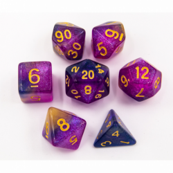 Black/Purple/Yellow Set of 7 Shimmering Galaxy Polyhedral Dice with Gold Numbers for D20 based RPG's