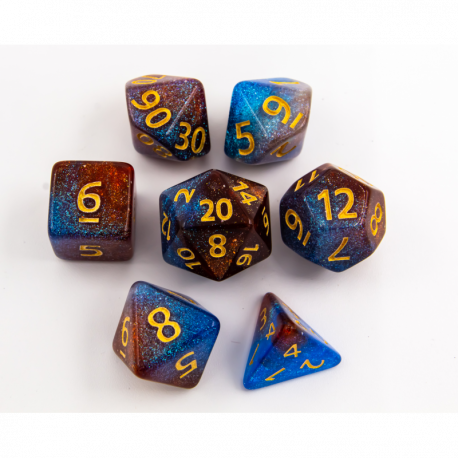 Blue/Orange Set of 7 Shimmering Galaxy Polyhedral Dice with Gold Numbers for D20 based RPG's
