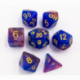 Blue/Purple Set of 7 Shimmering Galaxy Polyhedral Dice with Gold Numbers for D20 based RPG's