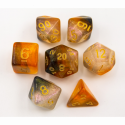 Copper/White Set of 7 Shimmering Galaxy Polyhedral Dice with Gold Numbers for D20 based RPG's