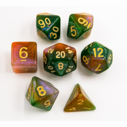 Green/Orange Set of 7 Shimmering Galaxy Polyhedral Dice with Gold Numbers for D20 based RPG's