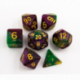 Green/Purple Set of 7 Shimmering Galaxy Polyhedral Dice with Gold Numbers for D20 based RPG's
