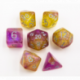 Purple/Yellow Set of 7 Shimmering Galaxy Polyhedral Dice with White Numbers for D20 based RPG's