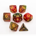 Red/Green Set of 7 Shimmering Galaxy Polyhedral Dice with Gold Numbers for D20 based RPG's