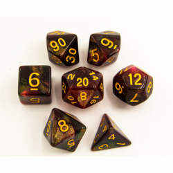 Black/Red Set of 7 Special Set Polyhedral Dice with Gold Numbers for D20 based RPG's