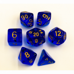 Blue Set of 7 Special Set Polyhedral Dice with Gold Numbers for D20 based RPG's