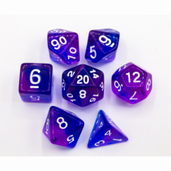 Blue/Indigo Set of 7 Special Set Polyhedral Dice with White Numbers for D20 based RPG's