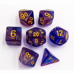 Blue/Purple Set of 7 Special Set Polyhedral Dice with Gold Numbers for D20 based RPG's