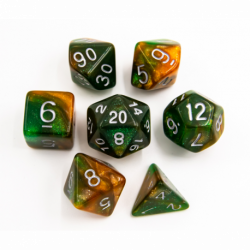 Green/Orange Set of 7 Special Set Polyhedral Dice with White Numbers for D20 based RPG's