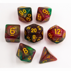 Green/Pink Set of 7 Special Set Polyhedral Dice with Gold Numbers for D20 based RPG's