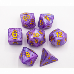 Light Blue/Purple Set of 7 Special Set Polyhedral Dice with Gold Numbers for D20 based RPG's