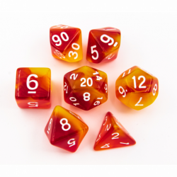Orange/Yellow Set of 7 Special Set Polyhedral Dice with White Numbers for D20 based RPG's