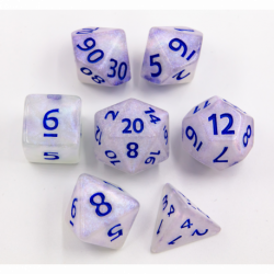 Silver Blue Glitter Set of 7 Special Set Polyhedral Dice with Blue Numbers for D20 based RPG's