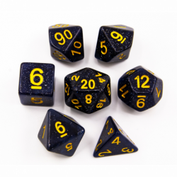 Universe Set of 7 Special Set Polyhedral Dice with Gold Numbers for D20 based RPG's