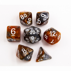 Brown/Steel Set of 7 Steel Polyhedral Dice with White Numbers for D20 based RPG's