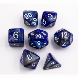 Blue/Steel Set of 7 Steel Polyhedral Dice with White Numbers for D20 based RPG's