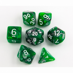 Green/Steel Set of 7 Steel Polyhedral Dice with White Numbers for D20 based RPG's