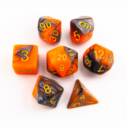 Orange/Steel Set of 7 Steel Polyhedral Dice with Gold Numbers for D20 based RPG's