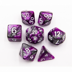 Purple/Steel Set of 7 Steel Polyhedral Dice with White Numbers for D20 based RPG's