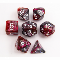 Red/Steel Set of 7 Steel Polyhedral Dice with White Numbers for D20 based RPG's