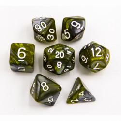 Yellow/Steel Set of 7 Steel Polyhedral Dice with White Numbers for D20 based RPG's