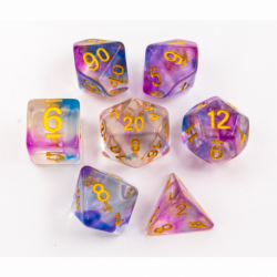 Blue/Purple Set of 7 Swirl Polyhedral Dice with Gold Numbers for D20 based RPG's