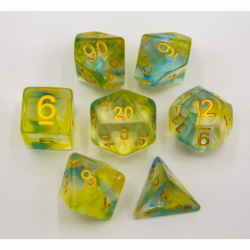 Blue/Yellow Set of 7 Swirl Polyhedral Dice with Gold Numbers for D20 based RPG's