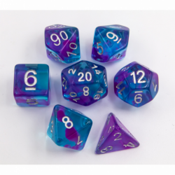 Light Blue/Purple Set of 7 Swirl Polyhedral Dice with Silver Numbers for D20 based RPG's