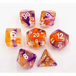 Orange/Purple Set of 7 Swirl Polyhedral Dice with White Numbers for D20 based RPG's